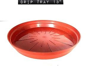 Malhotra Plastic 110036 Plastic Drip Tray Set 13(16-Number, Terracotta, 6-Pieces)