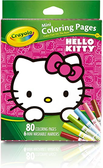 Amazon.com: Crayola Hello Kitty Mini Coloring Pages & Markers, 86 ...
