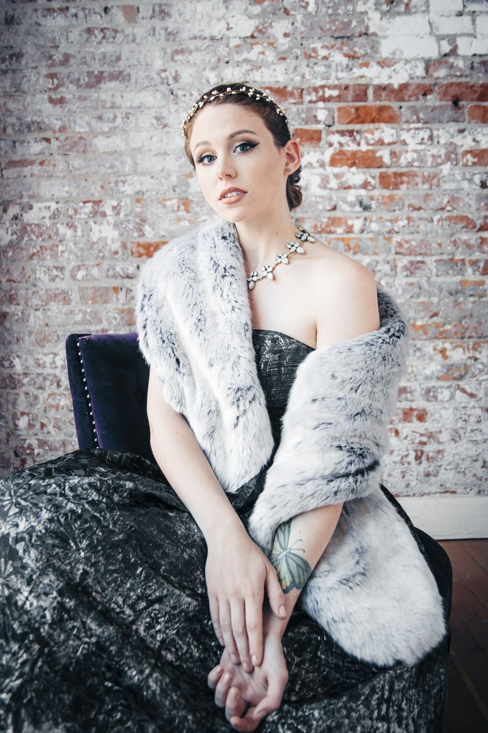 The Ingrid Bergman- Winter Fox Faux Fur Stole