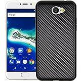 YHUISEN Slim Carbon Fiber Rubber TPU Custodia ibrida copertura antiurto per Google Android One General Mobile GM6 ( Color : Black )