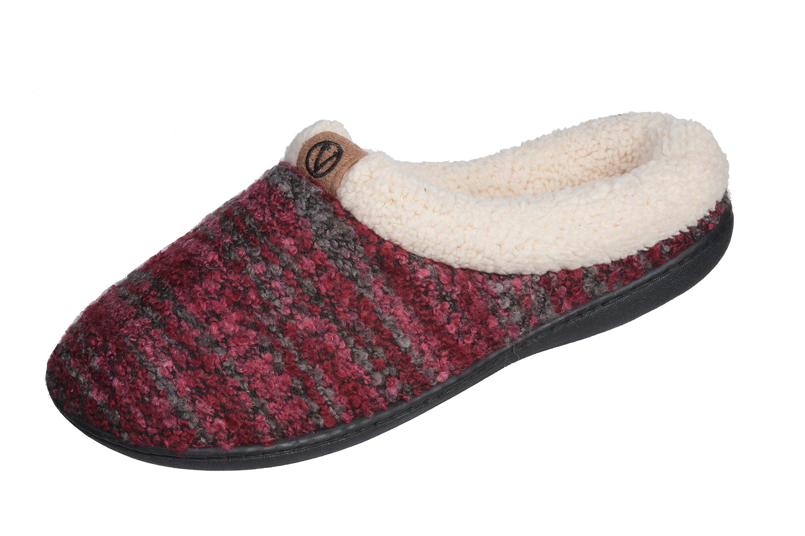 Joan Vass Women Lined Sweater Memory Slippers (Medium/7.5-8 B(M) US, Wine)