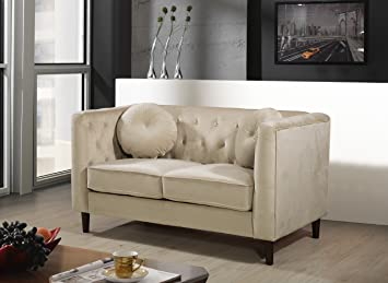 Container Furniture Direct Kitts Velvet Upholstered Modern Chesterfield Loveseat, Ivory