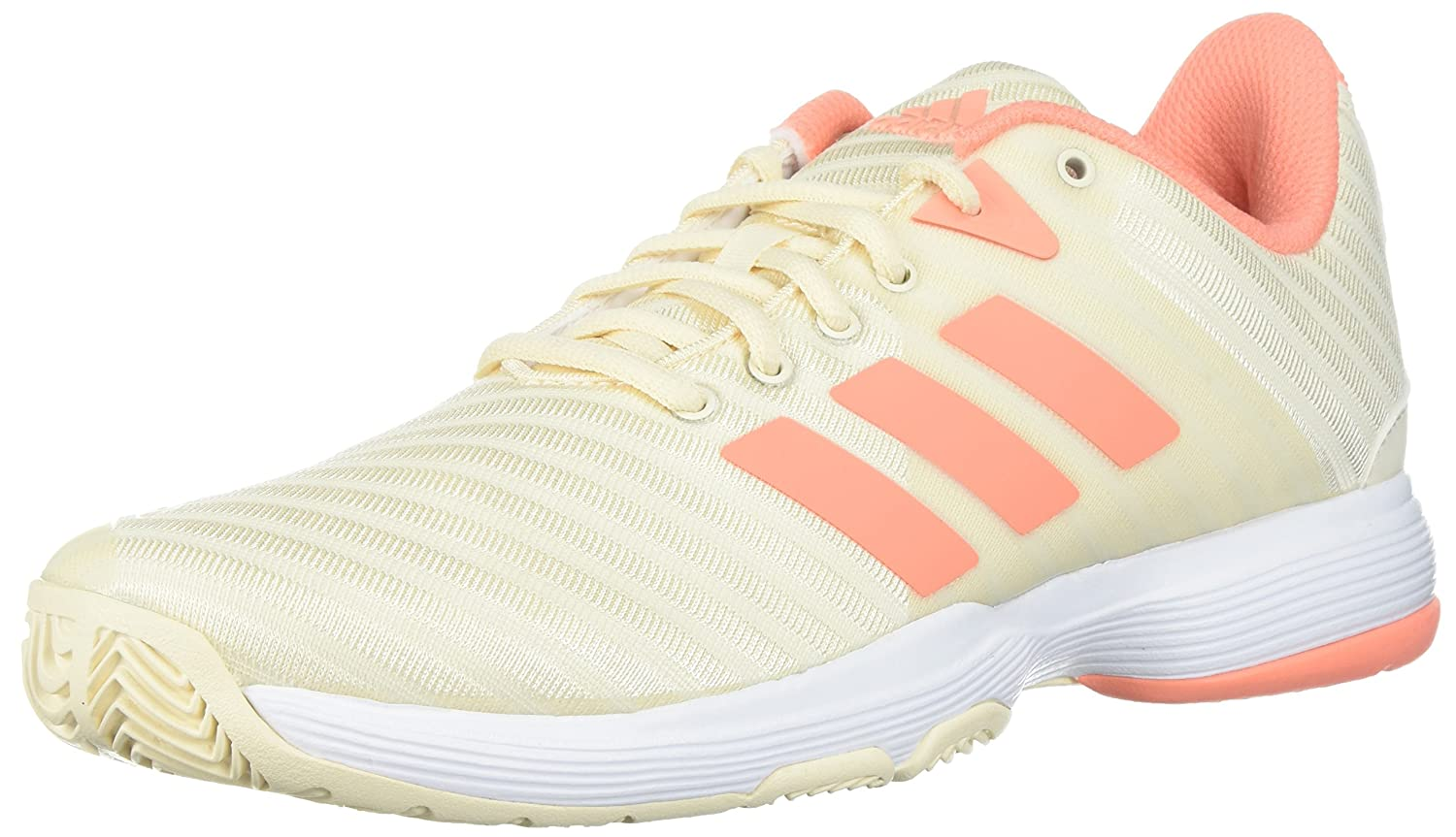 adidas Women's Barricade Court w Tennis Shoe, White/Matte Silver/Grey Two, 6.5 M US B072FH464S 6.5 B(M) US|Ecru Tint/Chalk Coral/White