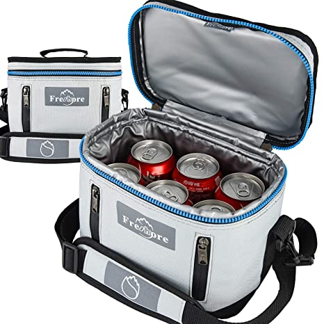 Fresho Insulated Lunch Kit Tote Slim Box Bolsas pequeñas para mujeres/hombres 丨 Compact Storage Comidas Contenedores Ice Pack - Crossbody con correa ...