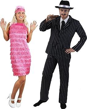 Disfraz de pareja de gánster y cabaretera para adultos: Amazon.es ...
