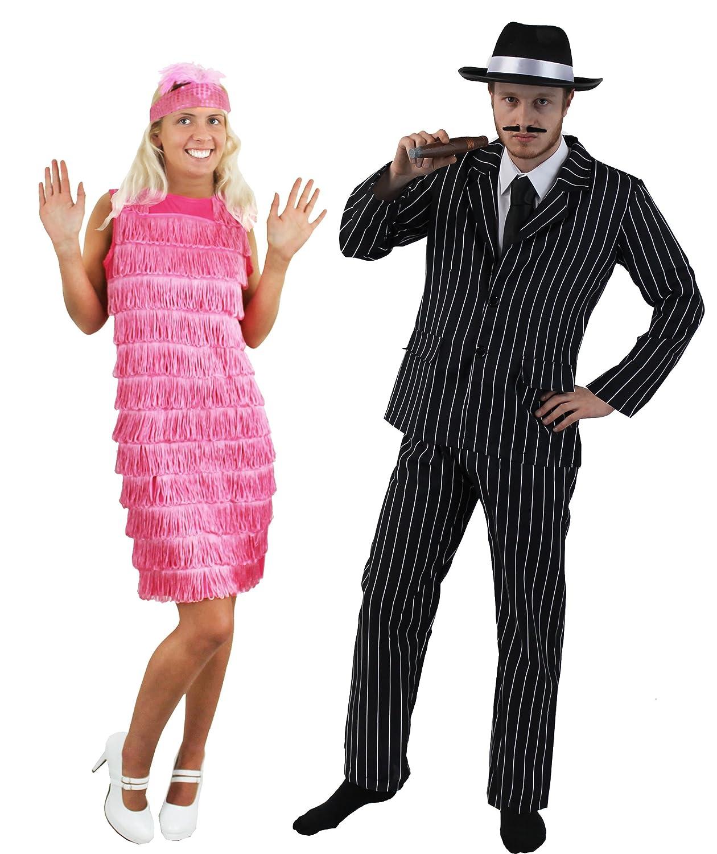 ILOVEFANCYDRESS - Travestimento anni 20 per coppia, abito da uomo gessato e cappello di feltro da gangster nero e vestito da donna da Charleston con frange con fascia con piume ILFD4027M+ILFD4520M+HTC
