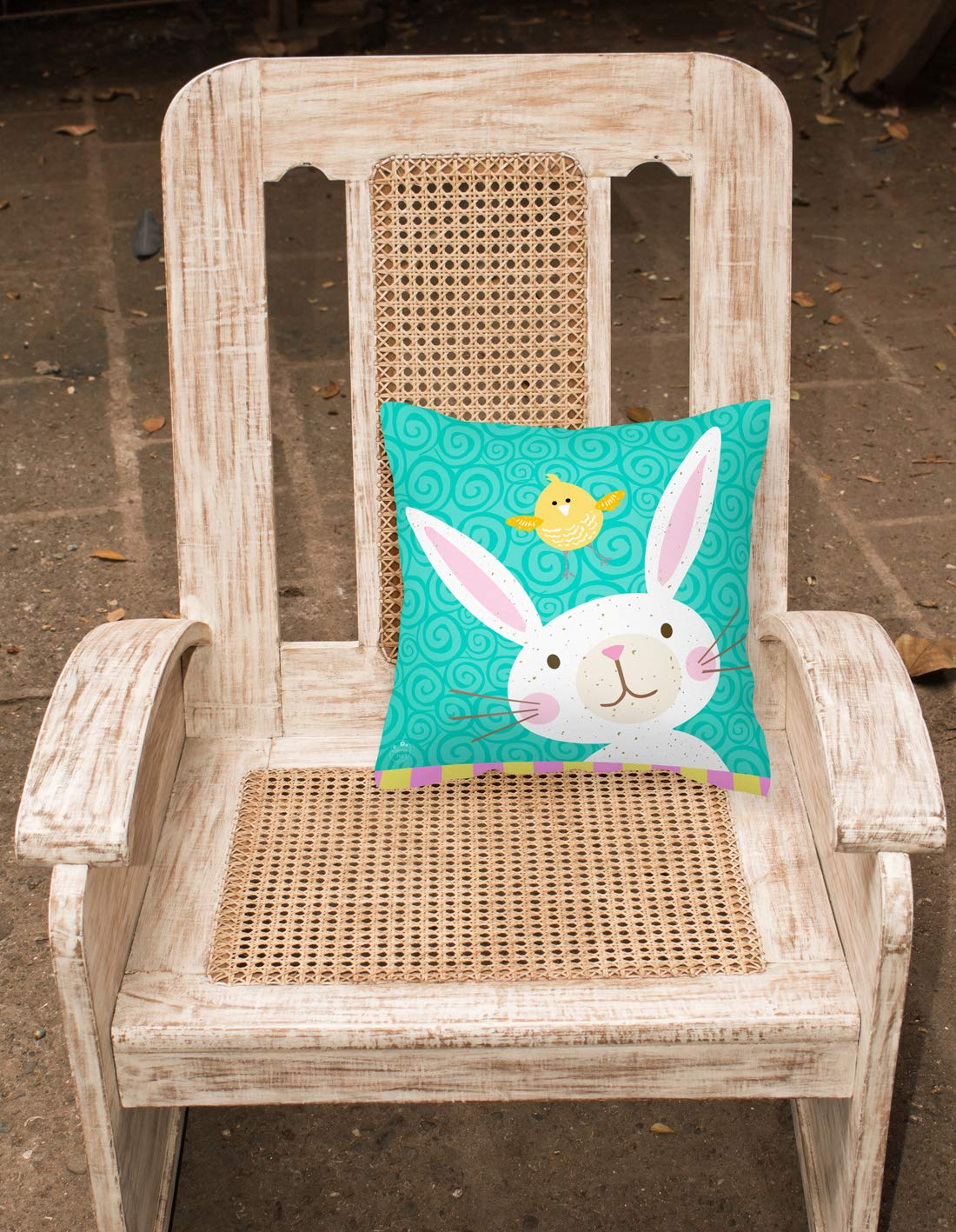 Carolines Treasures VHA3032PW1818 Happy Easter Rabbit Fabric Decorative Pillow Patio-Furniture-Pillows Multicolor