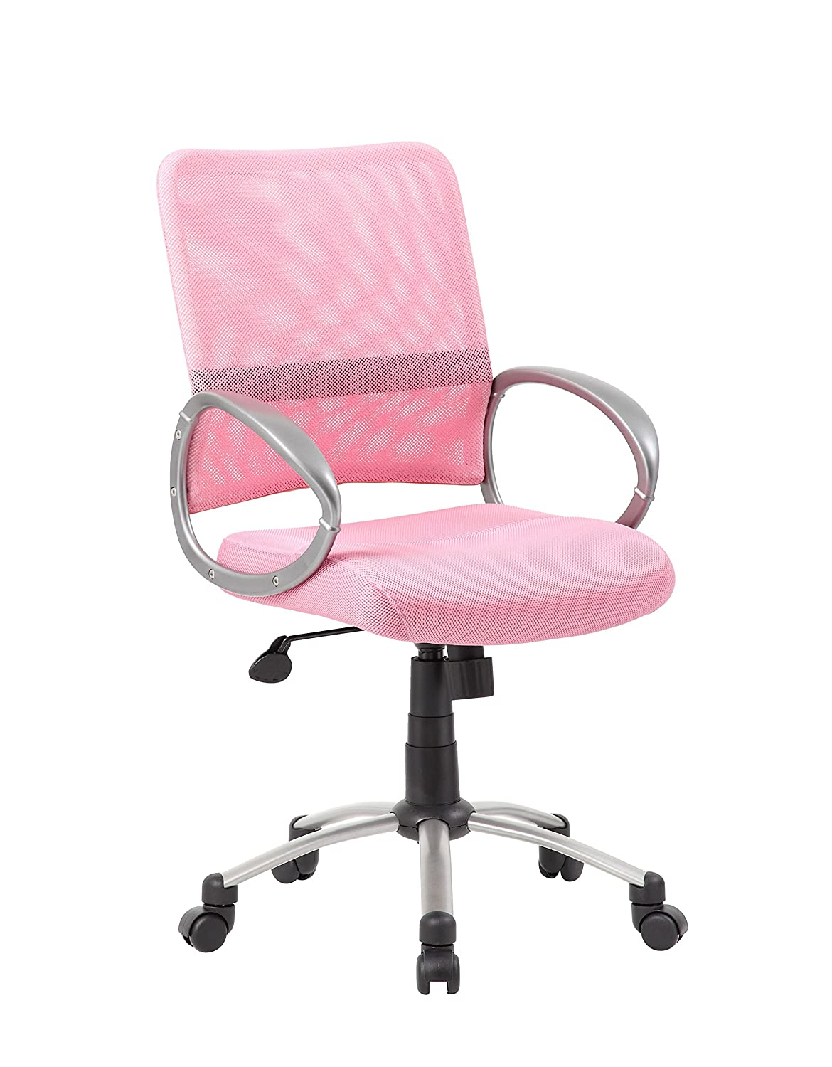 Boss Office Products B6416-PK Mesh Back Task Chair with Pewter Finish in Pink