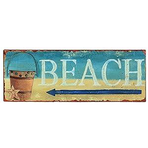"Barnyard Designs Beach This Way Retro Vintage Tin Bar Sign Beach House Decor 14"" x 5"""