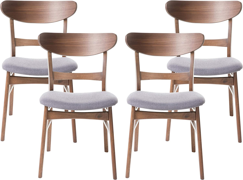 Christopher Knight Home Frances Mid-Century Modern Dining Chairs (Set of 4), Dark Gray, Walnut