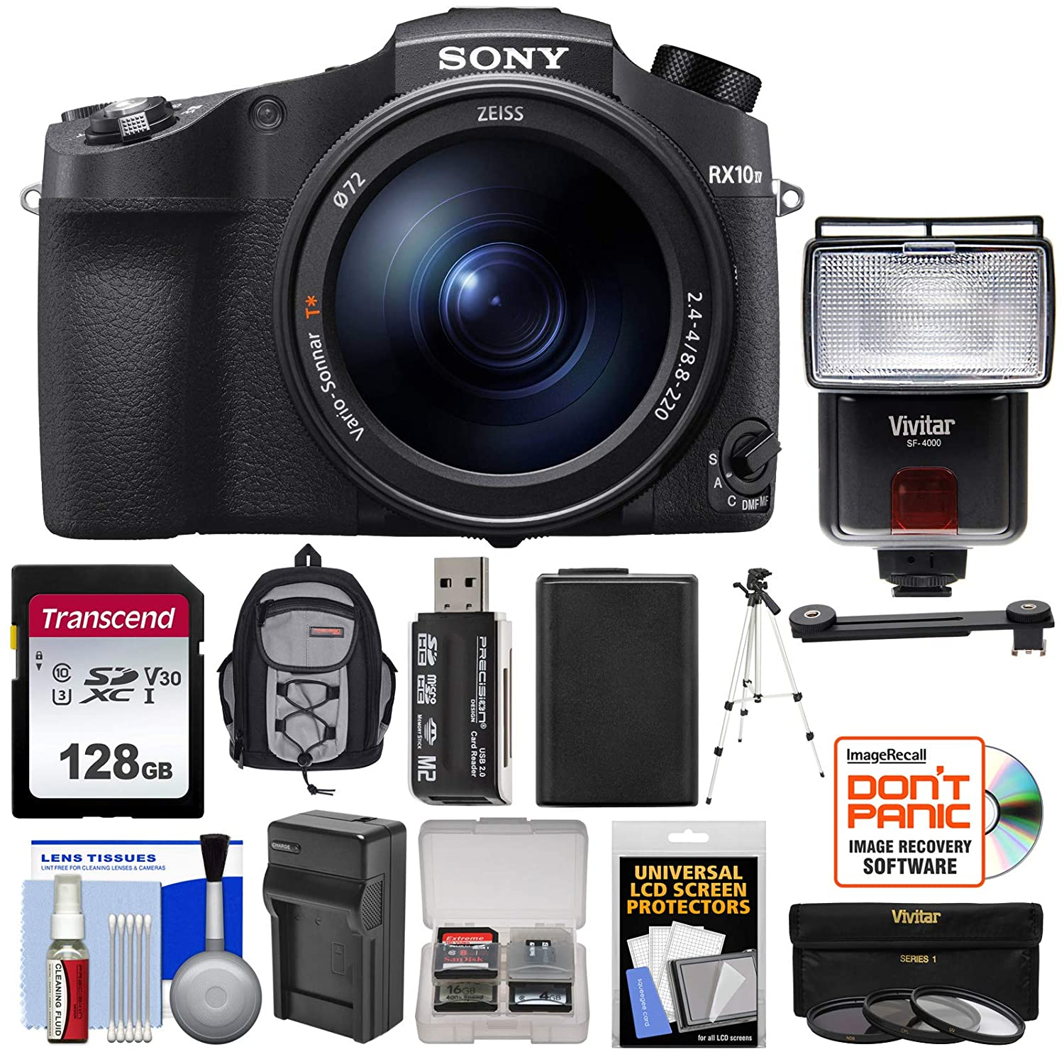 Sony Cyber-Shot DSC-RX10 IV 4K Wi-Fi Digital Camera with 128GB Card +  Battery & Charger + Backpack + 3 UV/CPL/ND8 Filters + Tripod + Flash + Kit