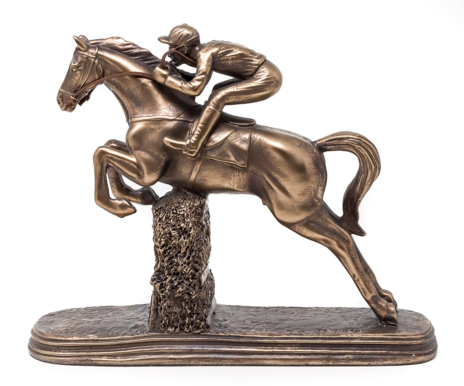 Jumping Horse Racing Statue Bronze Sculpture With Jockey Steeplechaser Ornament Artistic Bronze