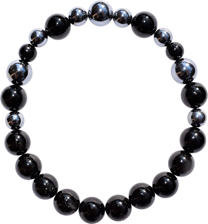 "Zenergy Gems Charged Premium 7"" Terahertz Metamaterial Resonator Crystal Bead Bracelet + Selenite Heart Charging Crystal (Protective & GROUNDING) [Reiki]"