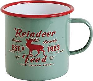 """Creative Co-Op""""Reindeer Feed"""" Enameled Mug"""