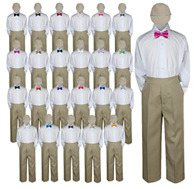 091c50553 4pc Baby Toddler Kid Boy Wedding Suit KHAKI Pants Shirt Bow tie Hat Set Sm-