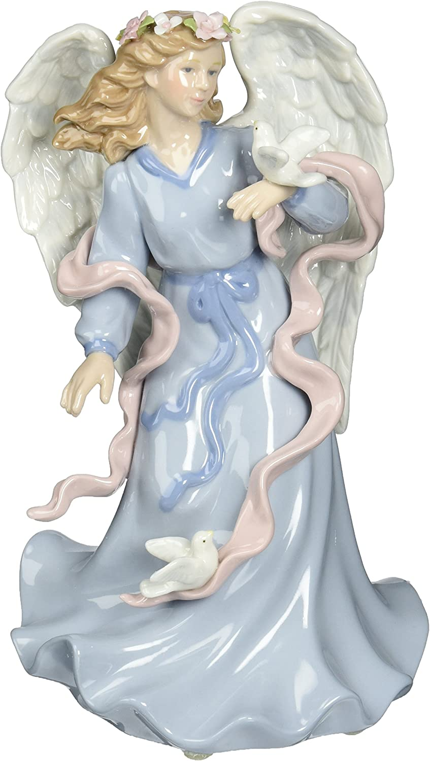 Cosmos 80086 Fine Porcelain Angel Holding Dove Musical Figurine, 8-Inch