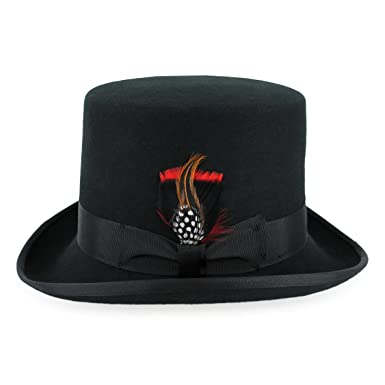 0952759b390c9 Belfry Topper 100% Wool Satin Lined Men's Top Hat in Black Available in 4  Sizes