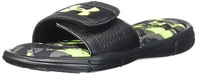 7dd0c7aa80f61a Under Armour Boys  3000059 Slide Sandal Black (001) High-Vis Yellow