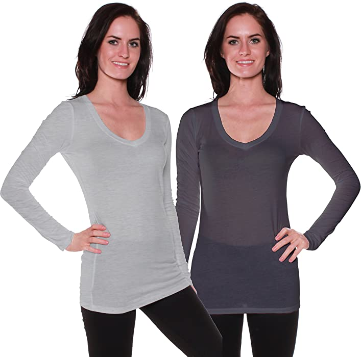 c5fd547c5f2 Active Basic Women s Basic Long Sleeve V-Neck Tee t Shirts- 2 Pack Deal