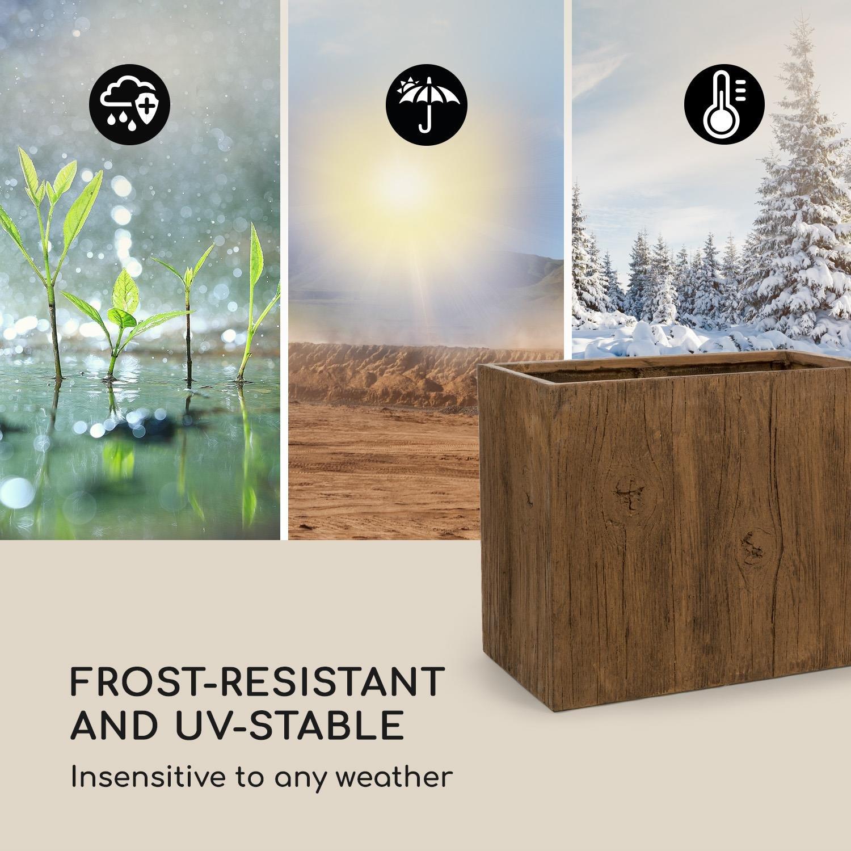 Blumfeldt Timberflor • Maceta para plantas • Tiesto • Fácil de colocar • Sin orificio de drenaje • Fibra de vidrio • Estable • Para dentro y fuera • Aspecto ...