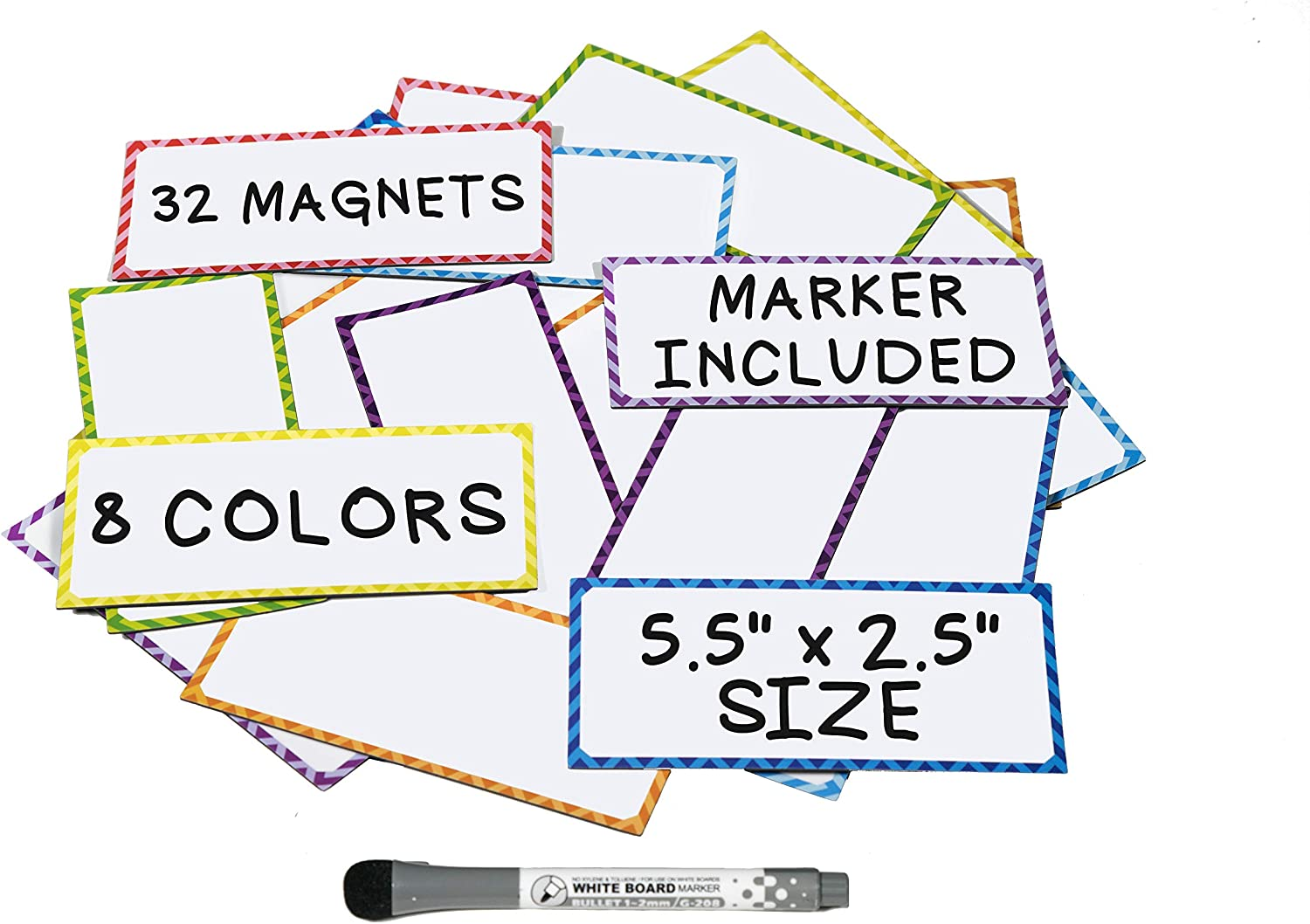 Large Magnetic Dry Erase Labels - (32 Count) w/Dry Erase Markers and Eraser Pen - Great For Teachers Classroom Organizationand Locker Accessories - Use it as Cubicle Name Tag Refrigerator Magnets