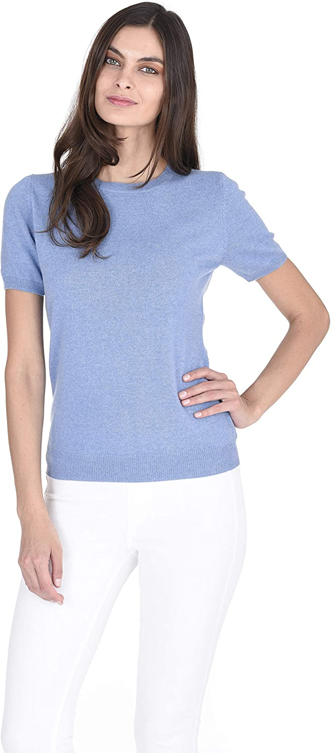 State Cashmere Short Sleeve Crewneck Top Jumper Top 100/% Pure Cashmere Round Neck Pullover Sweater Knitted Tee for Women