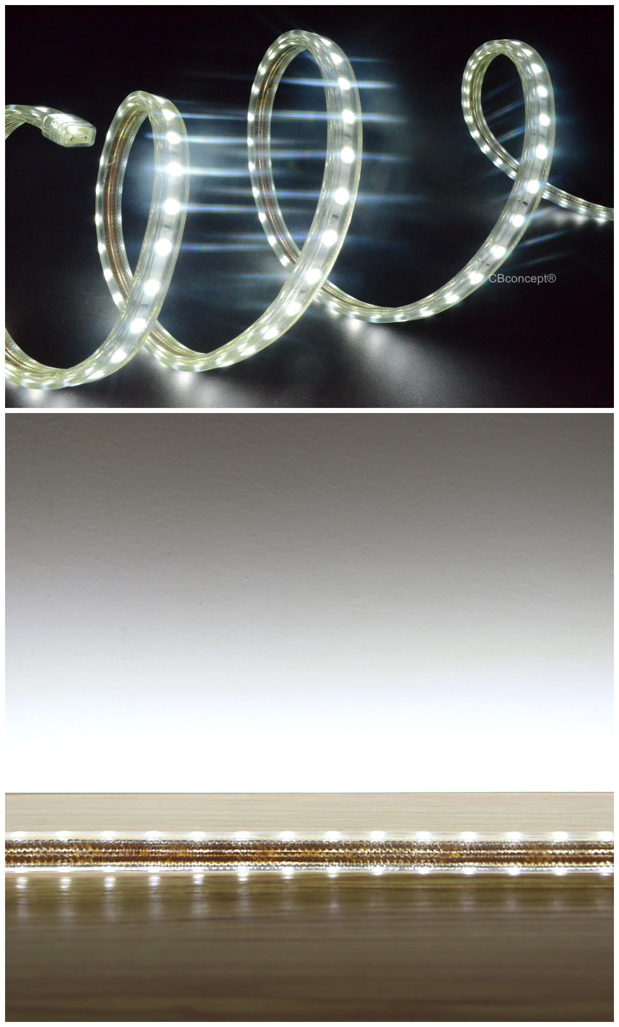 CBConcept UL Listed, 100 Feet,Super Bright 27000 Lumen, 6000K Pure White, Dimmable, 110-120V AC Flexible Flat LED Strip Rope Light, 1830 Units 5050 SMD LEDs, Indoor/Outdoor Use, [Ready to use] by CBconcept (Image #3)