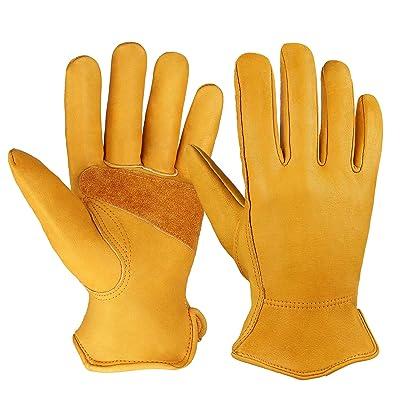 OZERO Flex Grip Leather Work Gloves Stretchable Wrist Tough Cowhide Working Glove 1 Pair