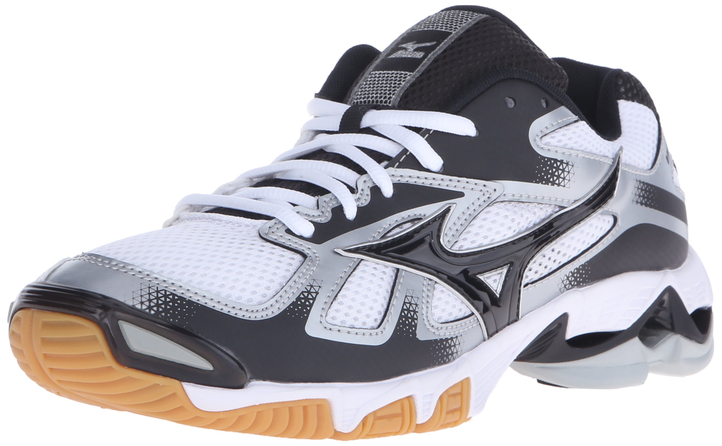 Mizuno Men's Wave Bolt 5 Volleyball Shoe, White/Black, 13 D US