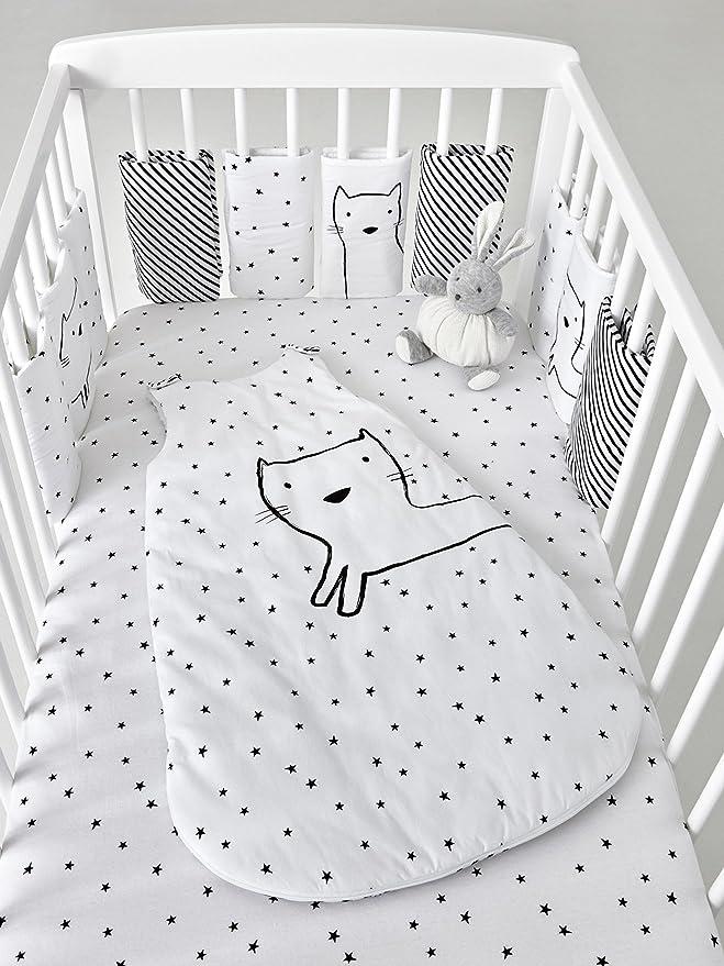 Vertbaudet saco sin mangas Night Cat *. blanco blanco / negro Talla:70: Amazon.es: Bebé