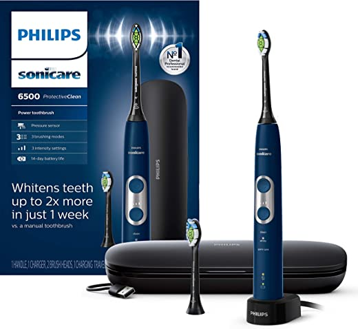 Philips Sonicare ProtectiveClean 6500 Rechargeable Electric Toothbrush with Charging Travel Case and Extra Brush Head, Navy HX6462/07