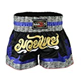 Maxx Muay Thai Boxing Shorts, Kick Boxing, mma shorts blk/blu/grey (xlarge)