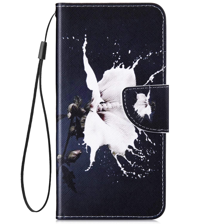 Surakey Cover Compatibile con Samsung Galaxy J5 2016 Flip Libro Portafoglio Pelle Case Modello di Personalit/à con Funzione Supporto e Porte Carte Chiusura Magnetica Pieghevole Custodia,Fiore Bianco