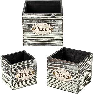 3 Pcs Wood Planter Box Various Sizes Square Planter Boxes Rustic Cube Wooden Flower Boxes with Plastic Liner Rectangle Planter Box for Desk Centerpiece Wedding Flowers Holder Window Box Decor