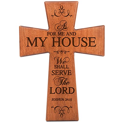 LifeSong Milestones As for Me and My House Cherry Wood Wall Cross Housewarming Gift 12×17