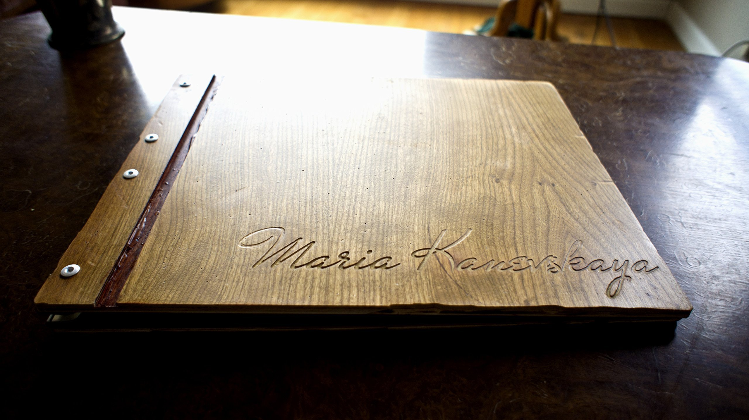 Cherry Wood Portfolio WITH 10 Sheet Protectors & Custom Engraving