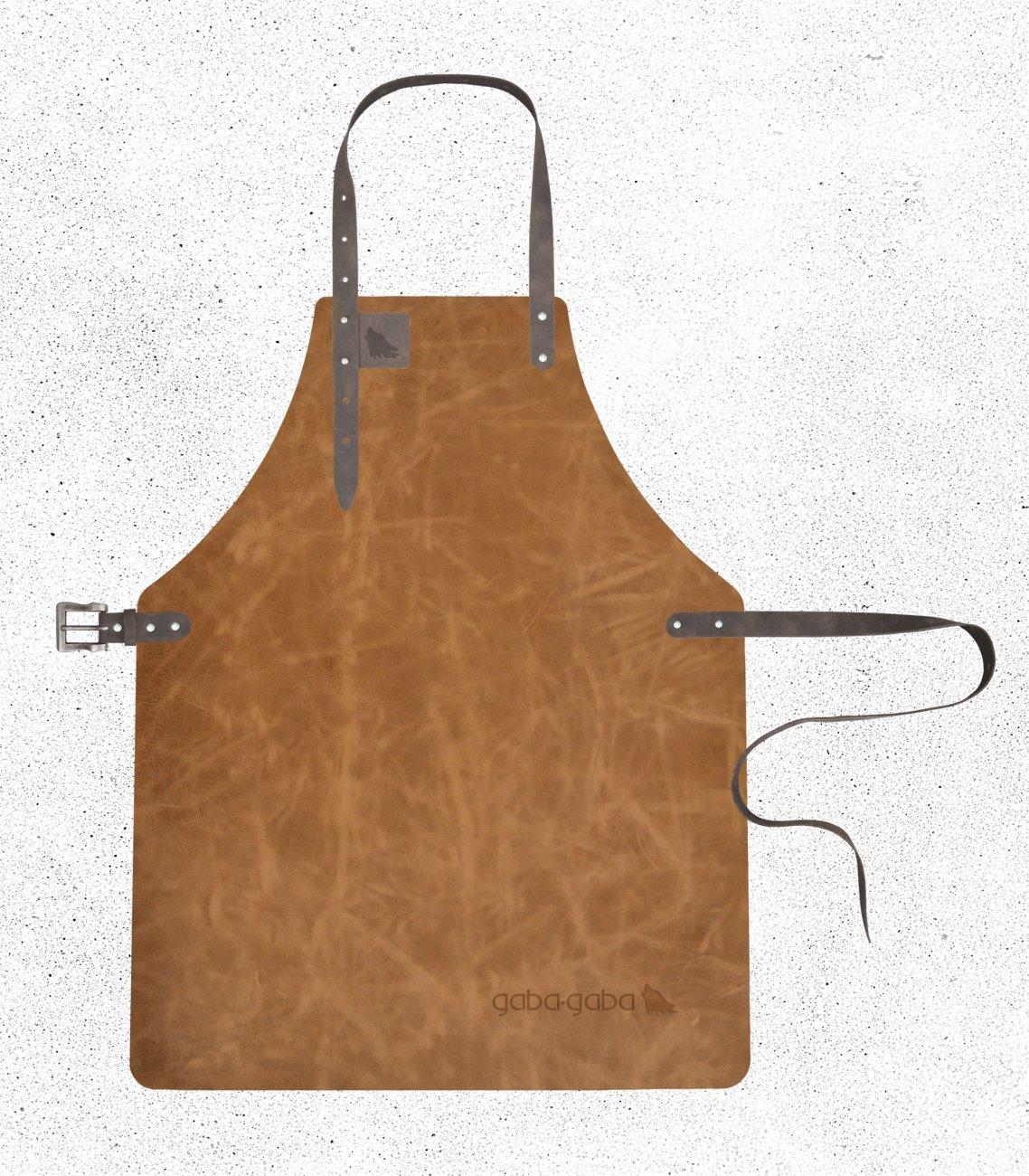 Gaba Gaba - Grillschürze / Lederschürze / Kellnerschürze aus Leder (geeignet für Barista, Gastronomie & Grillen) - Gazelle - Hippo (Ockerbraun) - XL - 62,5 x 90cm