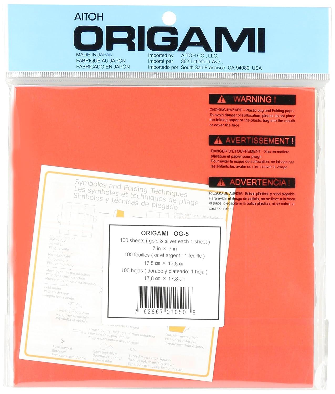 confezione da 100 fogli Aitoh-Carta da Origami 25 cm x 25 cm colori assortiti