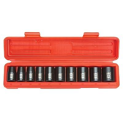 TEKTON 1/2-Inch Drive Shallow Impact Socket Set, Metric, Cr-V, 6-Point, 11 mm - 24 mm, 10-Sockets | 4815