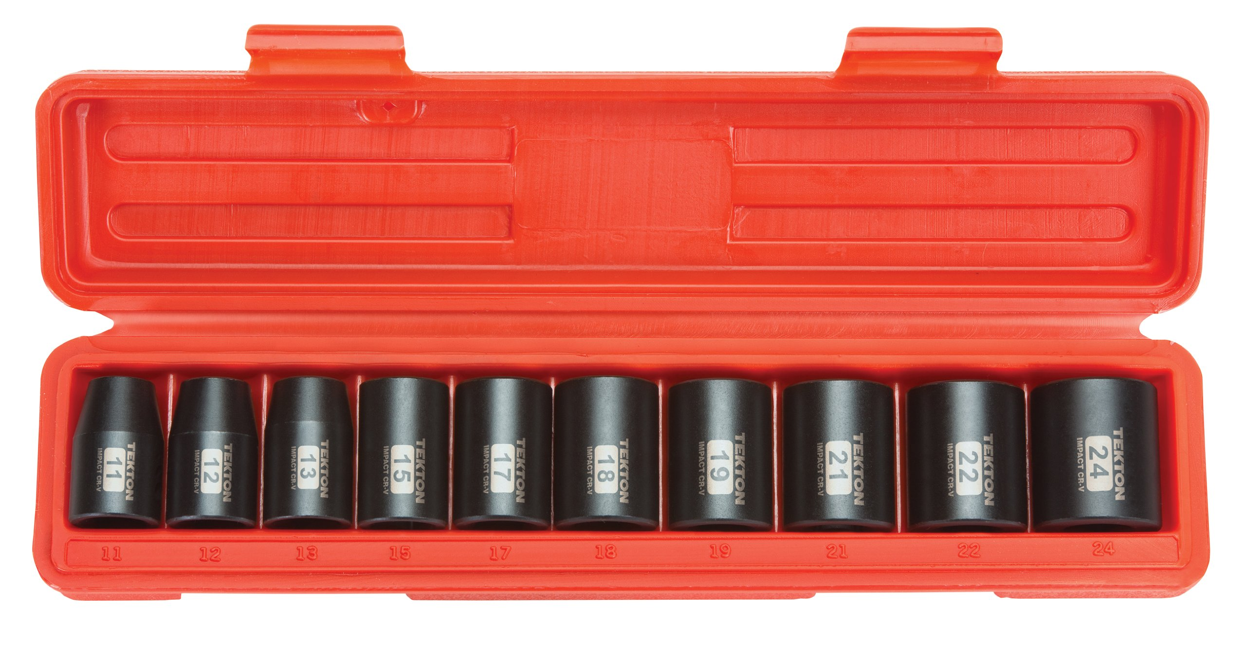 TEKTON 1/2-Inch Drive Shallow Impact Socket Set, Metric, Cr-V, 6-Point, 11 mm - 24 mm, 10-Sockets | 4815 by TEKTON
