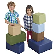 ECR4Kids SoftZone Foam Big Building Blocks, Soft Play for Kids, Phthalate-Free Big Blocks, Primary Preschool Learning Toys, Toddler Learning Toys, Baby Learning Toys, Stacking Blocks, 7-Piece Set