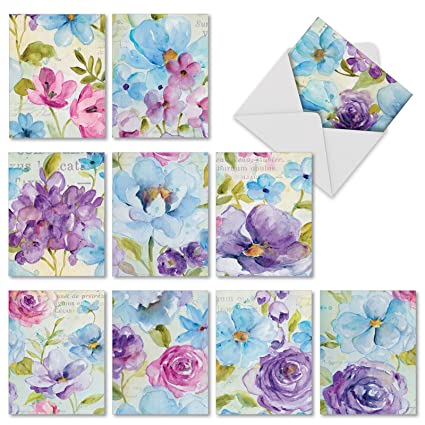 Amazon 10 blank greeting cards with envelopes boxed set 10 blank greeting cards with envelopes boxed set assortment of floral themed greeting m4hsunfo