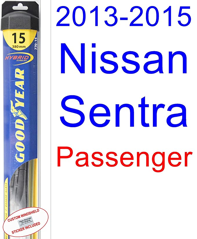 2013-2015 Nissan Sentra Replacement Wiper Blade Set/Kit (Set of 2 Blades) (Goodyear Wiper Blades-Hybrid) (2014)
