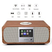 LEMEGA M3+ Smart Hi-Fi Music System (2.1 Stereo) And Wireless Speaker With Wi-Fi, Internet Radio, Spotify, Bluetooth, DLNA, DAB, DAB+, FM radio, Clock, Alarms, Presets, And Wireless App Control - Walnut