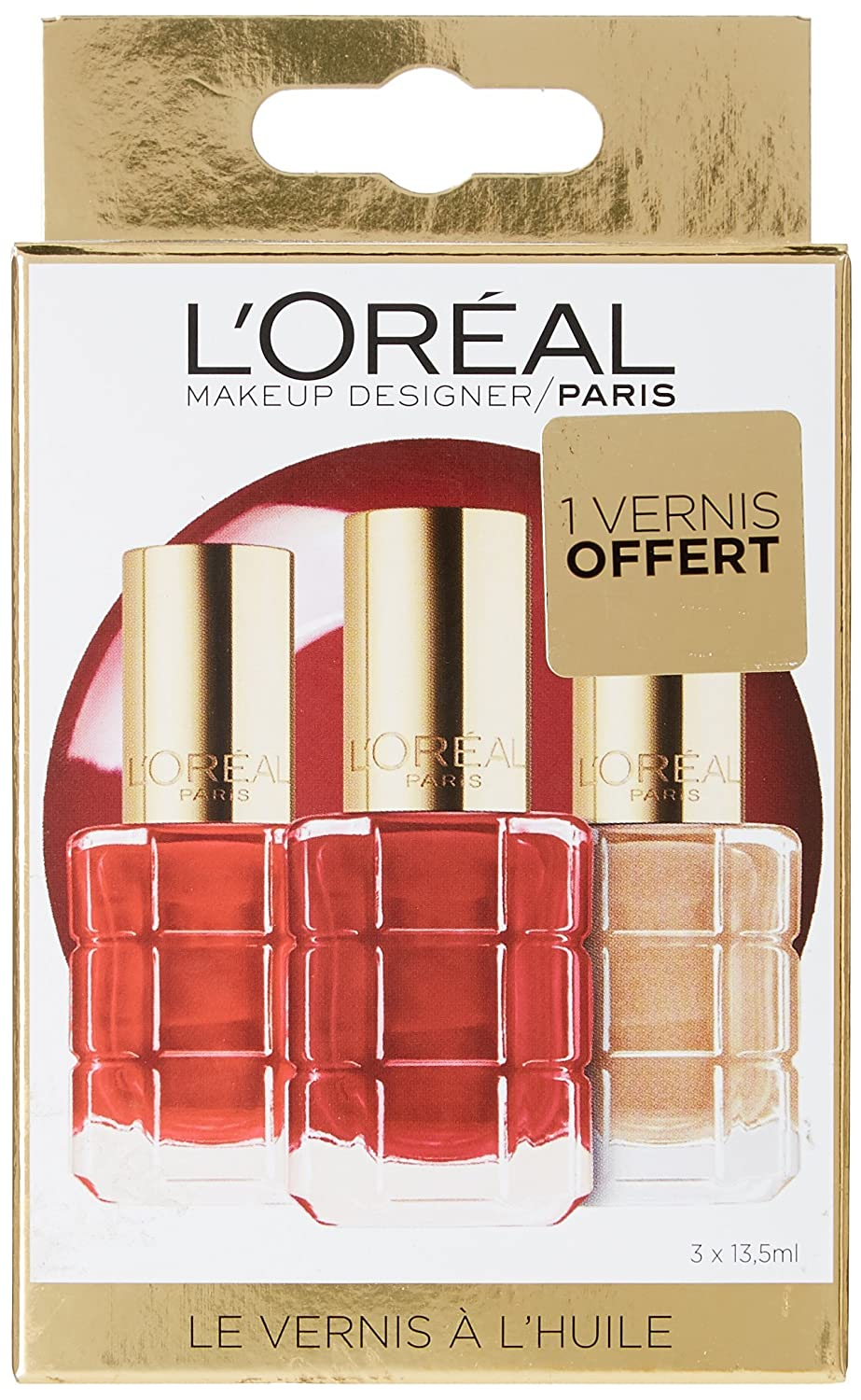 L'Oréal Paris Make Up Designer Coffret Fêtes des Mères 3 Vernis à l'Huile Color Riche Collection Nude Dont 1 Offert 3054089205440
