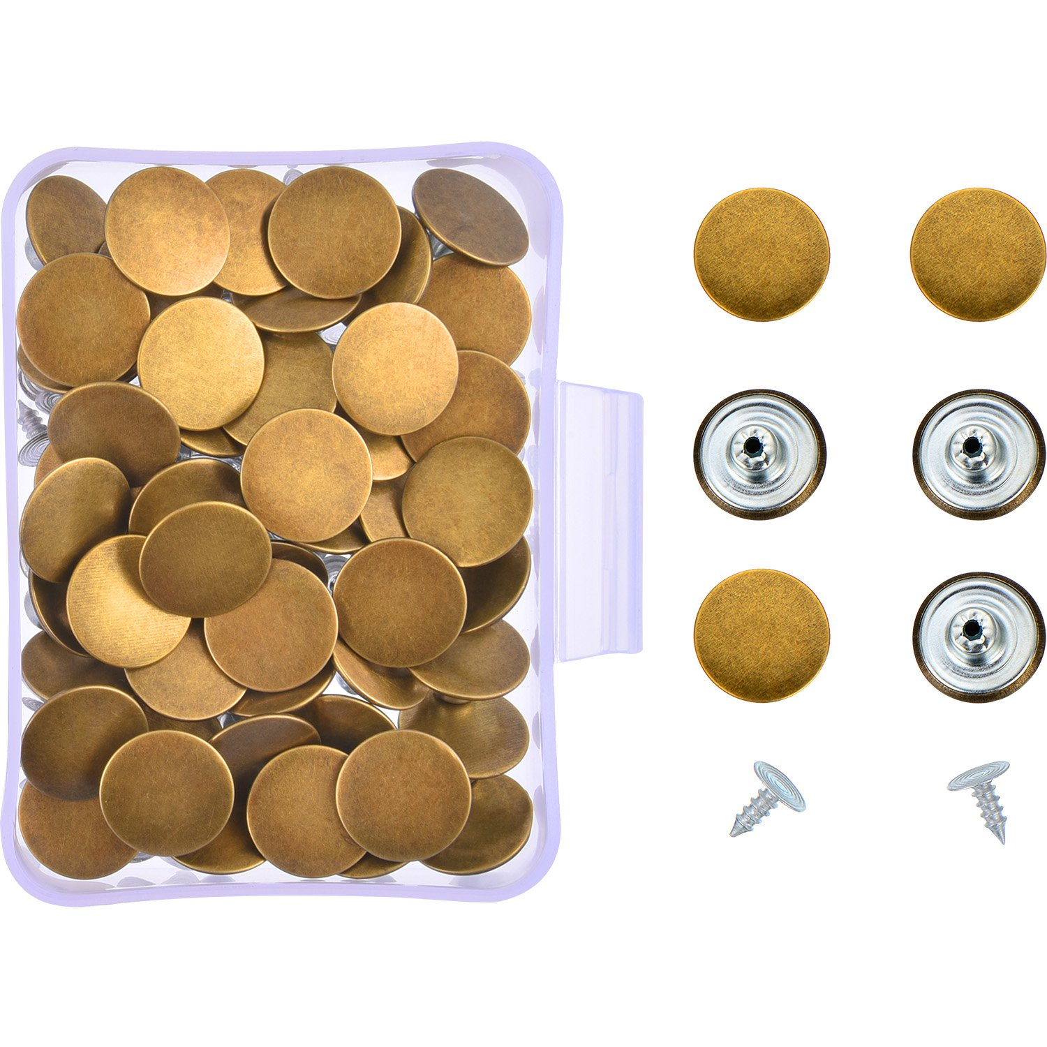 Hestya 40 Sets Bronze Jeans Buttons Metal Tack Snap Buttons Replacement Button Kit with Rivets and Plastic Storage Box 4337006090