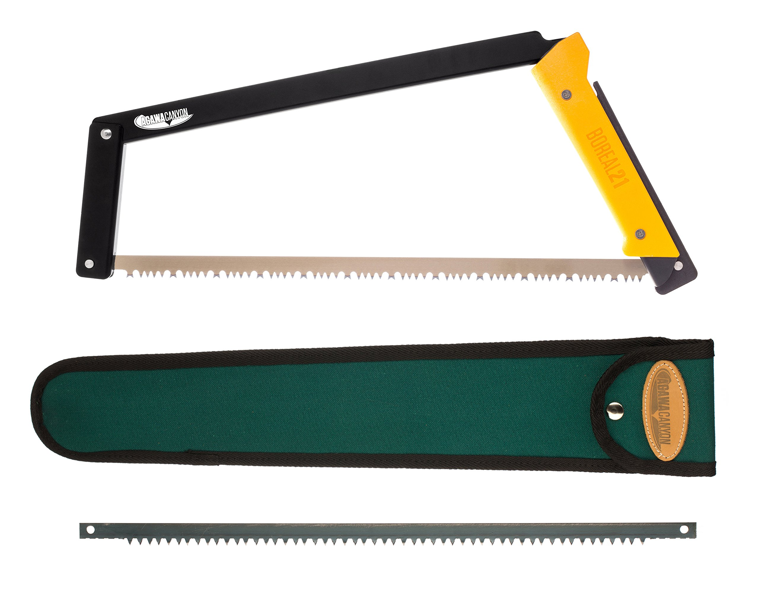 Agawa Canyon - BOREAL21 Tripper Kit - (21inch folding bow saw with all-purpose blade, canvas sheath, extra aggressive ''Sidney Rancher'' blade)