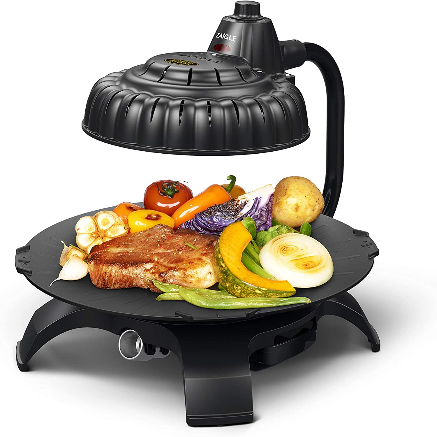 Zaigle ZG-HU375 Handsome Infrared KBBQ Electric Grill, 120v, 3 pans, tongs included Black
