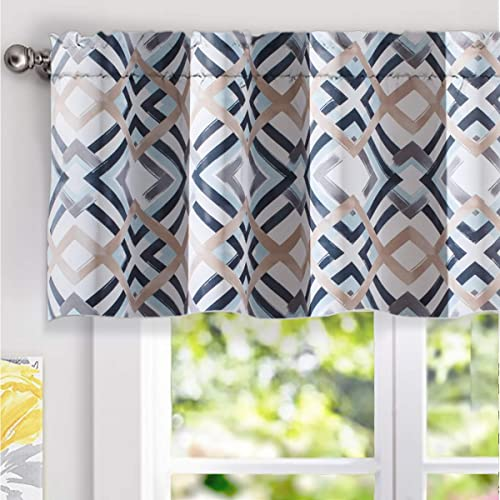 DriftAway Diamond Trellis Watercolor Geometric Checker Plaid Pattern Blackout Thermal Insulated Energy Saving Window Curtain Valance Rod Pocket Single 52 Inch by 18 Inch Plus 2 Inch Header Navy