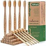 Cepillo Dientes Bambu, Paquete de 10 Cepillos de Dientes, Cepillos de Dientes Naturales y Veganos, Sostenibles, Biodegradables